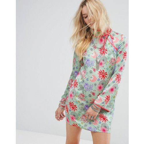 long sleeve shift dress with high neck in bright floral - green marki Glamorous