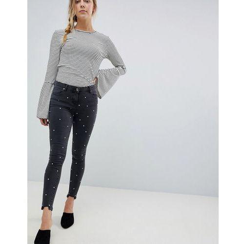 Parisian Diamante Skinny Jeans with Raw Hem - Grey, skinny