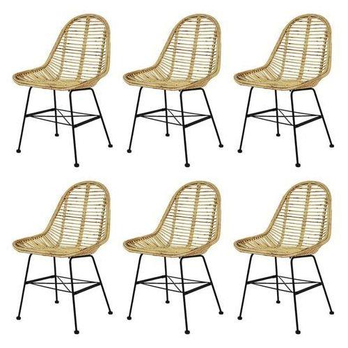 Vidaxl Krzesła do jadalni, 6 szt., naturalny rattan