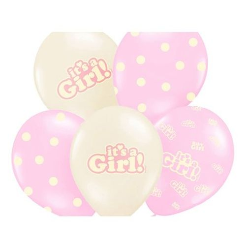 Balony pastelowe it's a girl - 30 cm - 6 szt. marki Party deco