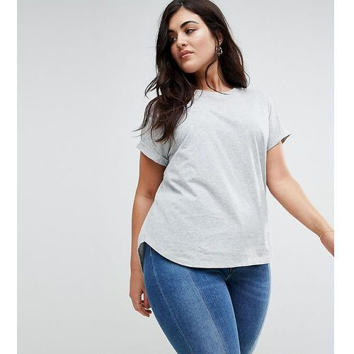 ASOS CURVE T-Shirt in Boyfriend Fit with Rolled Sleeve and Curved Hem - Grey