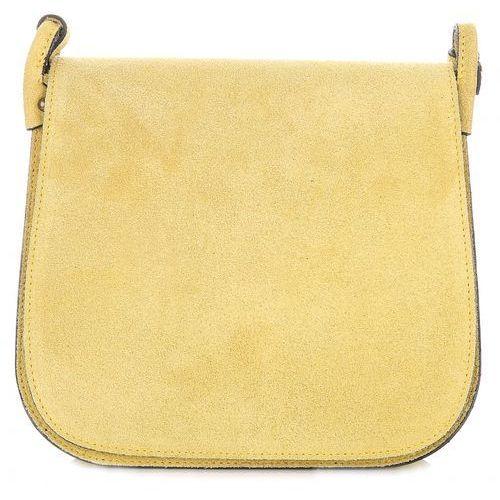 Torebki Listonoszki Skórzane Firmy Genuine Leather Żółta (kolory)