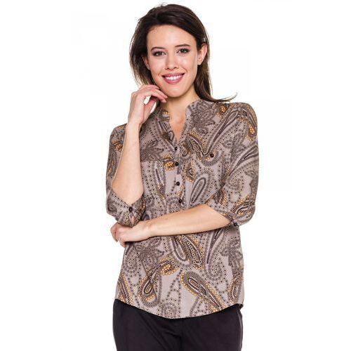 Bluzka w beżowe kwiaty -  marki Duet woman
