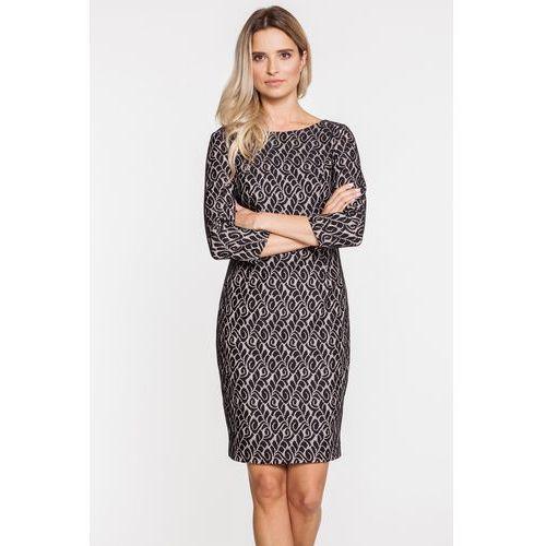 Żakardowa sukienka o dopasowanym kroju - Carmell, kolor niebieski
