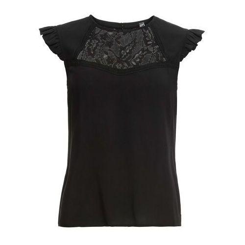 Bluzka z nadrukiem, długi rękaw bonprix ciemnoniebieski, kolor czarny