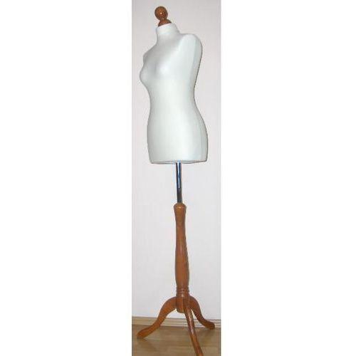 Manekin krawiecki - tors kobiecy krótki, ecru - rozmiar 38 na drewnianym, ciemnym trójnogu