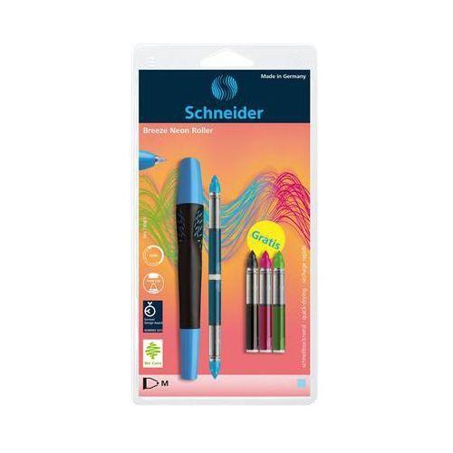 Schneider Pióro kulkowe breeze neon, m, niebieskie/czarne + 5 x kartridż, blister (4004675094414)