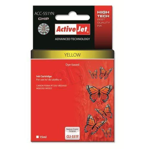 Tusz ActiveJet ACC-551YN Yellow do drukarki Canon - zamiennik Canon CLI-551Y, z chipem