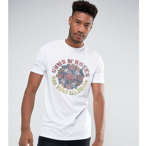 tall guns n roses longline band t-shirt - white marki Asos