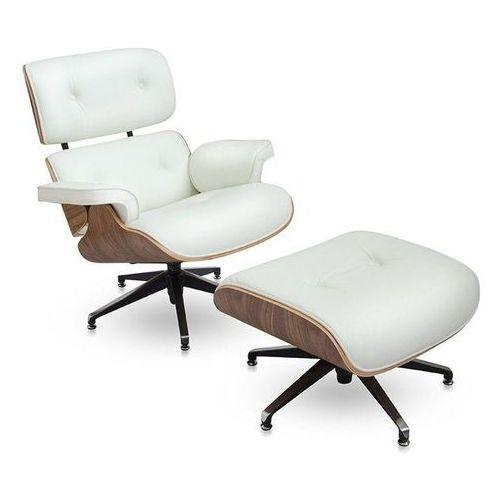 Fotel z Podnóżkiem Kopenhaga biała skóra/jasny orzech