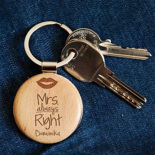 Mrs. always right - Brelok drewniany - Drewniany brelok