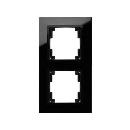 Ramka podwójna Elektro-Plast Volante szklana czarna, 2672-61