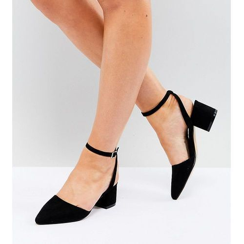 Truffle collection wide fit tie up mid heel shoe - black