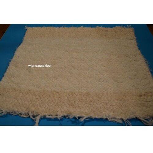 Twórczyni ludowa Chodnik bawełniany (wycieraczka) ręcznie tkany ecru, brzegi ciemniejsze 65x50