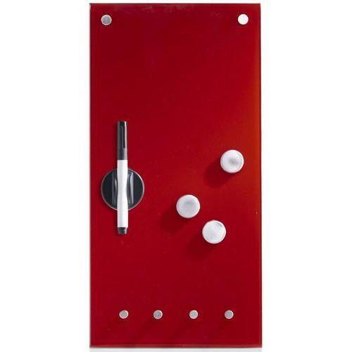 Zeller Szklana tablica memo na notatki, czerwona + 3 magnesy i 4 haczyki, 40x20 cm,