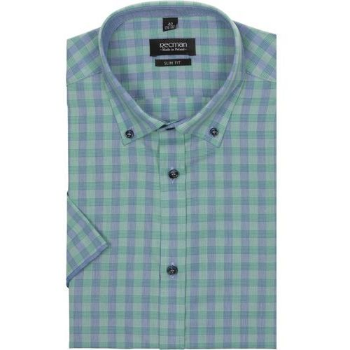 koszula bexley 2307 krótki rękaw slim fit zielony, bawełna