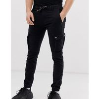 Celio cargo trousers with drawstring waist in black - Black