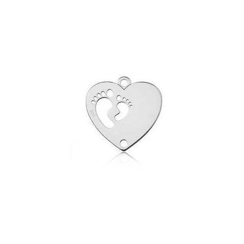 Łącznik / Zawieszka Serce ze stópkami do grawerowania, srebro 925 BL 577
