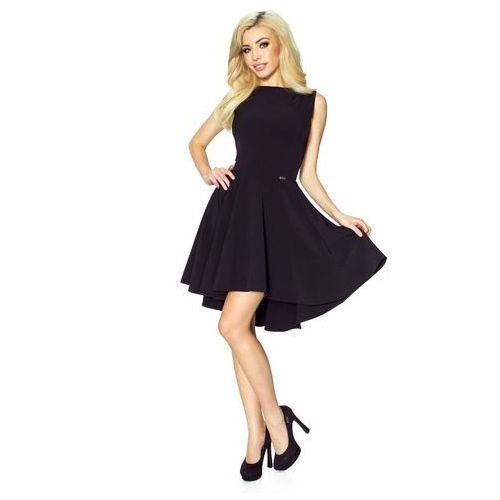 Bergamo Czarna klasyczna sukienka bez rękawów z szerokim wydłużonym dołem