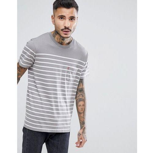 Levi's Sunset Pocket T-Shirt Anchor Stripe - Grey, 1 rozmiar