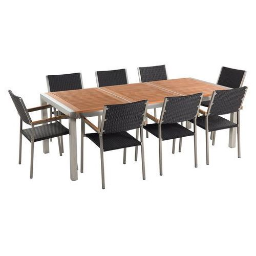 Beliani Zestaw ogrodowy mahoniowy blat 220 cm 8-osobowy rattanowe krzesła grosseto (4260586358971)