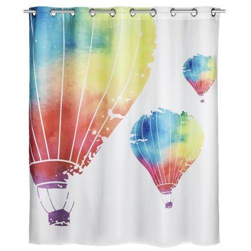 Antybakteryjna, poliestrowa zasłonka prysznicowa air comfort flex, 180x200 cm, z nadrukiem balonów, możliwość prania, marka marki Wenko