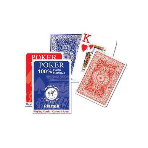 100 % plastikowe, Classic Poker - duże indeksy, talia niebieska - karty do gry, AM_9001890136115