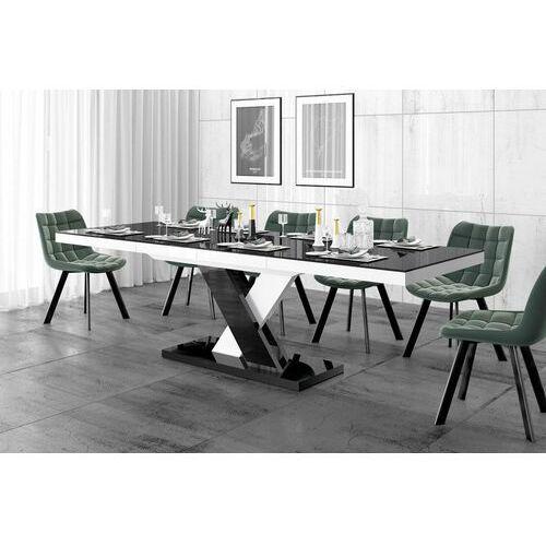 Stół rozkładany XENON LUX 160-256 czarno-biały mix połysk, HS-0217