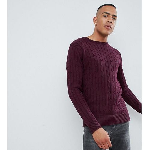 French connection tall 100% cotton logo cable knit jumper - red