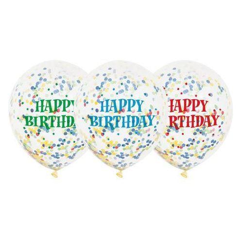 Balony przezroczyste z nadrukiem oraz konfetti w środku - 30 cm - 6 szt. marki Unique