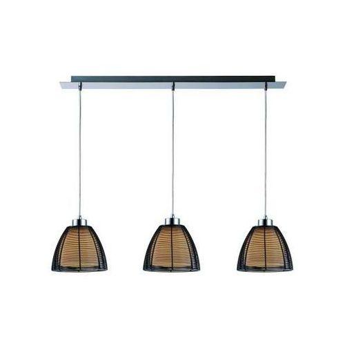 Nowoczesna LAMPA wisząca PICO MD9023-3B BL Zumaline metalowa OPRAWA szklany ZWIS kopuły LISTWA czarna, MD9023-3B BL