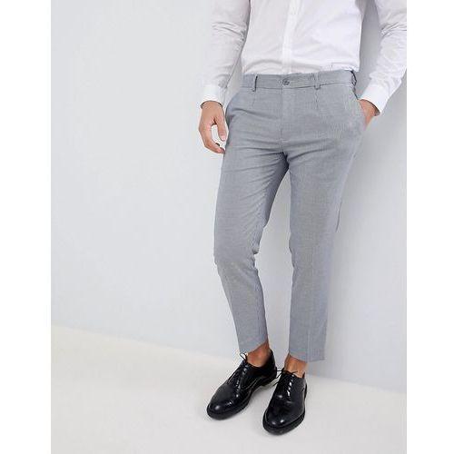 Burton Menswear Smart Cropped Trousers In Grey Check - Grey, kolor szary