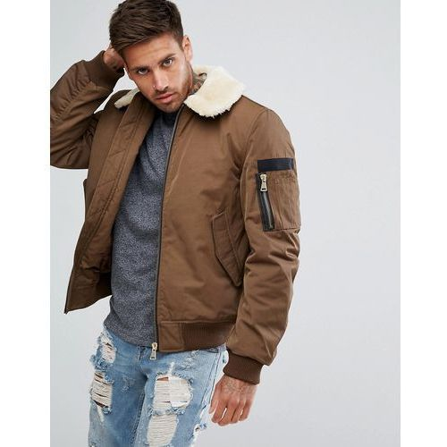 River Island Aviator Jacket With Faux Fur Collar And MA1 Pocket In Khaki - Gold