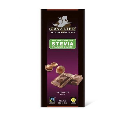 Belgijska czekolada mleczna z orzechami laskowymi słodzona stewią, bez cukru, 85g, kup u jednego z partnerów
