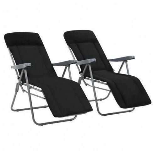 Vidaxl składane krzesła ogrodowe z poduszkami, 2 szt., czarne marki Elior