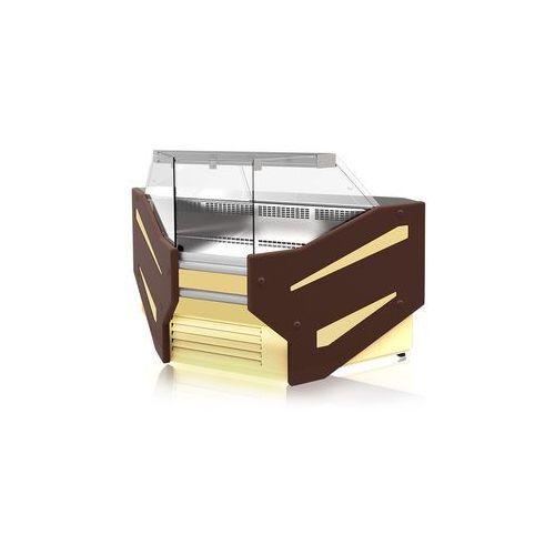 Lada chłodnicza narożna wewnętrzna z szybą prostą, pionową, blatem ze stali nierdzewnej (płótno), 1070x1220 mm | RAPA, F NW/107