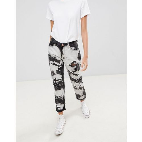 Glamorous tie dye Ripped Boyfriend Jeans - Black, kolor czarny