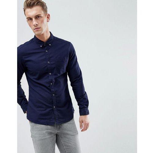Esprit Slim Fit Oxford Shirt With Button Down Collar In Navy - Navy