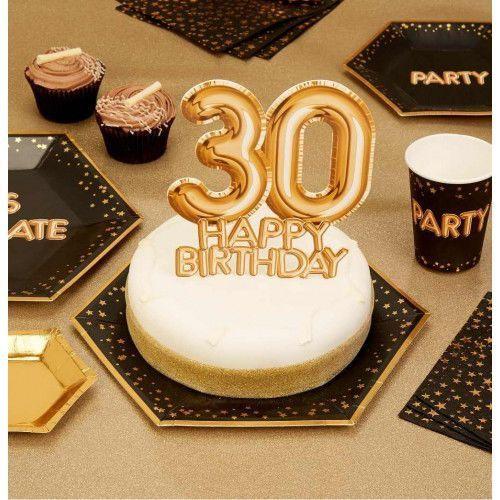 """Dekoracja urodzinowa na tort 30 Happy Birthday """"Glitz & Glamour"""" złoty, NK/3604-5"""
