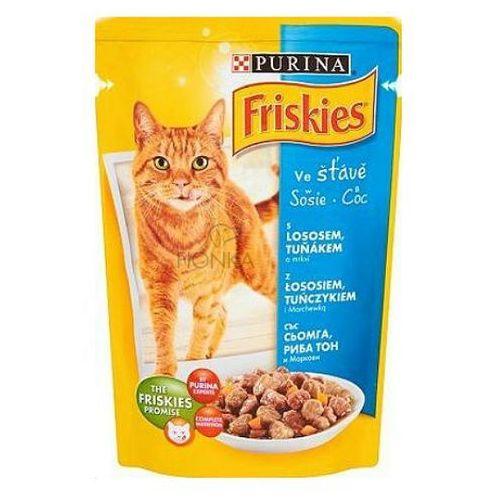Friskies w sosie z łososiem, tuńczykiem i marchewką karma dla kotów saszetka 100 g