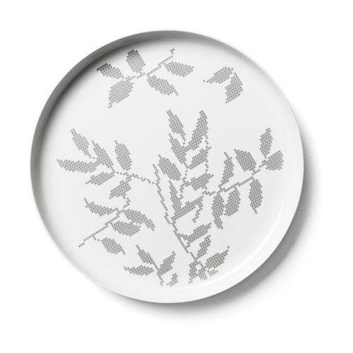 Menu - taca grey leaves - okrągła
