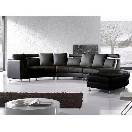 Beliani Półokrągła sofa skórzana czarna - 8 miejsc siedzących rotunde (7081458018260)
