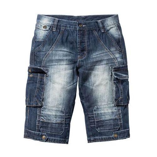 """Długie bermudy dżinsowe Regular Fit bonprix ciemnoniebieski """"stone used, kolor niebieski"""