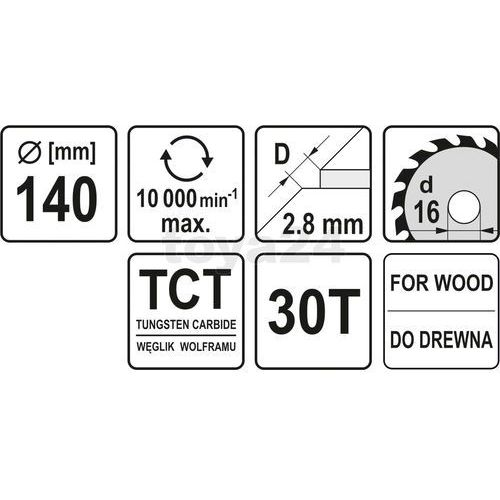 Tarcza widiowa 140x30tx16 mm yt-6053 - zyskaj rabat 30 zł marki Yato