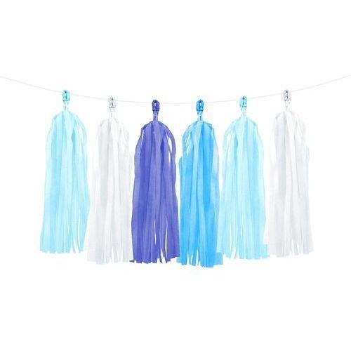 Girlanda z frędzlami białymi i odcieniami niebieskiego - 150 cm - 1 szt. marki Party deco