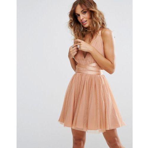 premium tulle mini prom dress with ribbon ties - pink marki Asos