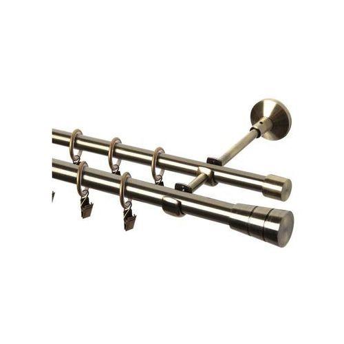 Karnisz SYCYLIA 200 cm podwójny antyczne złoto 20/16 mm metalowy (5901157589088)