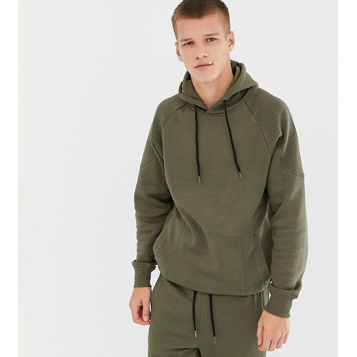 Another influence tall ribbed panel overhead hoodie - green