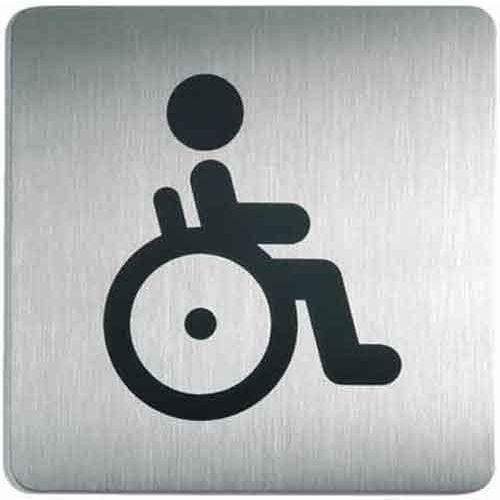 Oznaczenie toalet metalowe kwadratowe - WC dla niepełnosprawnych
