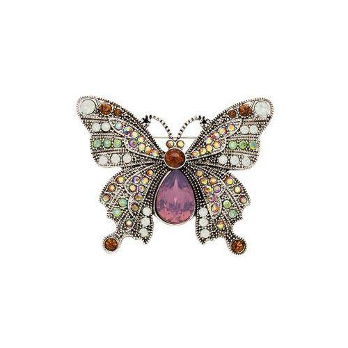 """Broszka """"Motyl"""" bonprix srebrny, kolor szary"""
